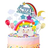 MOVINPE 21pcs Unicorn Cake Topper Kit Cloud Rainbow Balloon Happy Birthday Banner Cake Decoration...