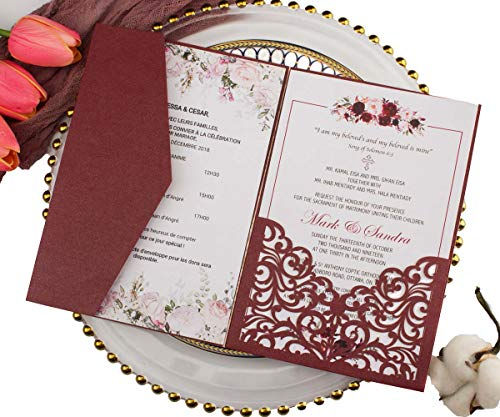 25 sets Pearl White/Ivory/Pink/Navy Blue/Burgundy paper Tri Fold Vertico pocket Laser Cut Vine Wedding Invitations Cards Hollow Carving Greeting invites Engagement Birthday Bridal Shower (burgundy)