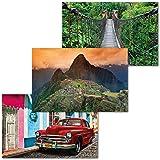 GREAT ART 3er Set XXL Poster – Südamerika & Kuba –