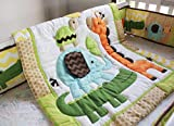 Wowelife Giraffe Crib Bedding 100% Cotton Safari Crib Sets of Elephant Giraffe and Crocodile for Baby(Orange Giraffe-7 Piece)