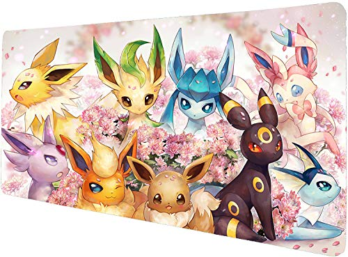 Totem World Trading Card Games Mouse Pad Compatible with Gaming Pokemon Yugioh Magic The Gathering MTG TCG Card Game Table Playmat (Eevee NO LED 14 x 24 inches)