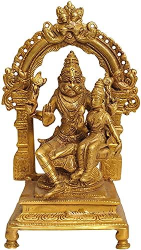 Brass Lord Narasimha with Goddess Lakshmi Statue, Height 8.5' I Home Décor