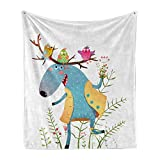 Lunarable Moose Soft Flannel Fleece Throw Blanket, Cartoon Style Illustration of Smiling Elk Colorful Birds Antlers Cartoon, Cozy Plush for Indoor and Outdoor Use, 50' x 60', Pink Green