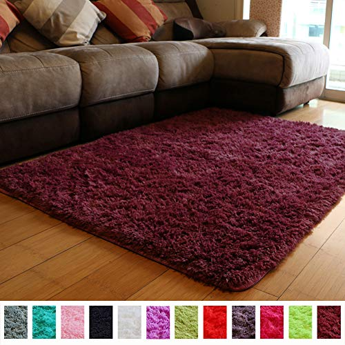 PAGISOFE Soft Furry Fur Rugs for Living Room Bedroom Area Indoor Modern Fluffy Rugs Decor Plush Home Decorative Carpet for Girls Boys Dorm Room Floor Mat Shaggy Rug 4' x 5', (Dark Burgundy)