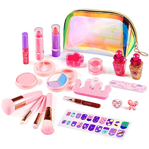 ARANEE 21PCS Set da trucco per bambini per bambina, kit giocattolo trucco lavabile con borsa cosmetica glitter