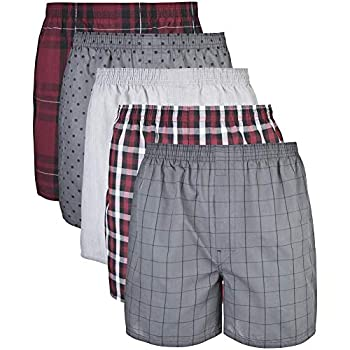 Gildan Men s Woven Boxer Underwear Multipack Mixed Red/Grey  5-Pack  X-Large