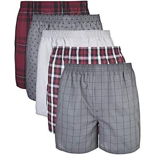 Gildan Men's Woven Boxer Underwear Multipack, mixed red/grey, XL (Assorted)