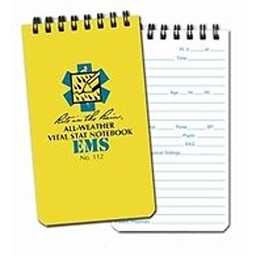 Rite in the Rain Weatherproof EMS Notebook, 3  x 5 , Yellow Cover, Vital Stats Pages (No. 112)