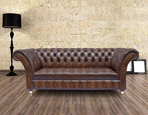 JVmoebel Póster de Chesterfield de 3 plazas para sofá de piel y tela