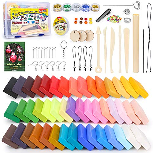 iFergoo Polymer Clay - Polymer Ton 46 Colors Knete Oven Bake Clay, DIY Modeling Clay Bockers, 5 Scuplting Tools, 5 Colors Mica Powder, 40 Jewelry Accessories for Kids and Adult