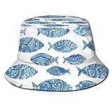 Figuras de animales de mar de pescado con mosaico antiguo otomano ornamentado a mano estilo dibujado a mano Marine ArtworkSun sombrero estilo cubo plegable pescador sombrero de playa protector solar