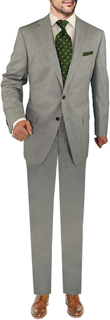 DTI Men's 2 Button Business Suit Nano Luxury Stretch 100% Wool Two Piece Gray
