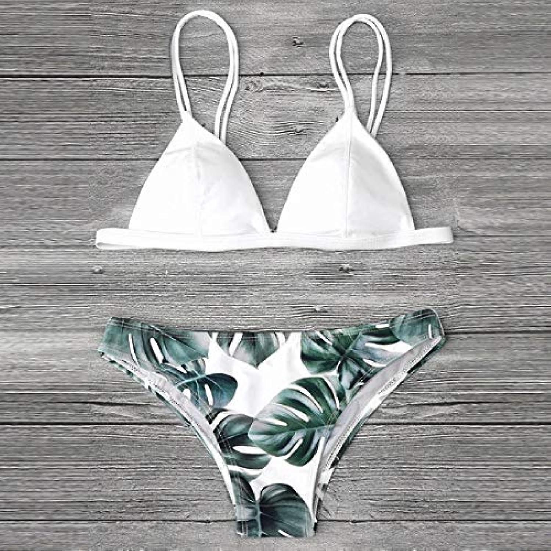 Swimwear Women high Waist Women Swimwear Bikini S Print Leaves Push-Up Padded Bathing Swimsuit Beachwear  XTN  , L