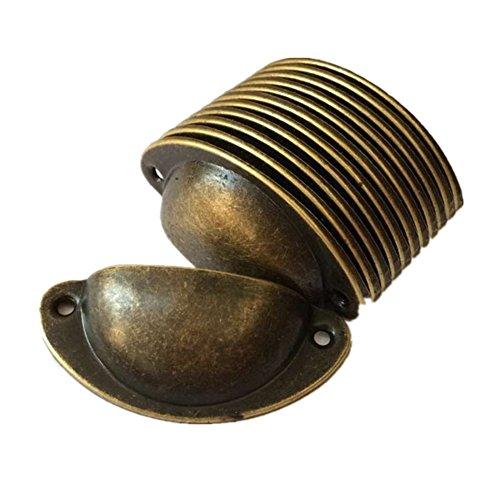 12 x Vintage Muschelgriffe fur Schublade, Antik Eisen Griffe fur Küche Mobel Möbelknöpfe Set 8.2cmx3.5cm Bronze