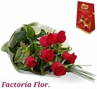 6 rosas rojas + caja roja de nestle 100 gr.
