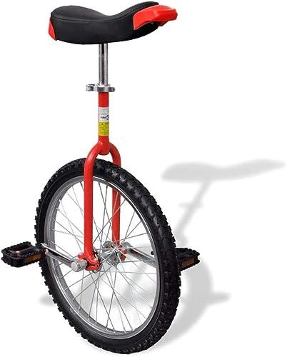minorista de fitness VidaXL Monociclo rojo Ajustable Bicicleta de Una Rueda Monociclos Acero Acero Acero 20 Pulgadas  venta mundialmente famosa en línea