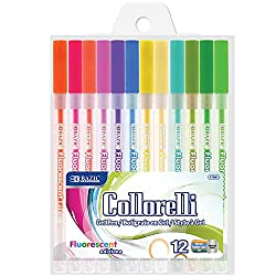 small BAZIC 12 Neon Color Colorelli Gel Pen, Rollerball Point Macaron Fluorescent Color, Coloring …