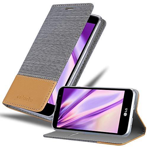 Cadorabo Custodia Libro per LG G4C / G4 Mini/Magna in Grigio Chiaro Marrone - con Vani di Carte, Funzione Stand e Chiusura Magnetica - Portafoglio Cover Case Wallet Book Etui Protezione