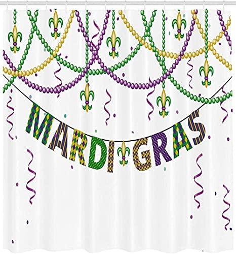 Karneval Duschvorhang Festliche Dekorationen mit Fleur De Lis Icons hängen von bunten Perlen Stoff Badezimmer Dekor Set mit Haken 72 X 72 Zoll Lila Grün Gelb