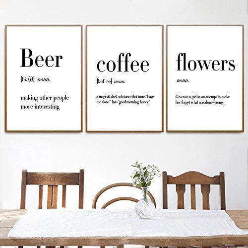 FDONTR Minimalistische Kunst Definition Bier Kaffee Wein Zitate Poster Drucken Nordic Kitchen Room Wandkunst Bild Home Decor Leinwand Gemälde 50 * 70cm gerahmt