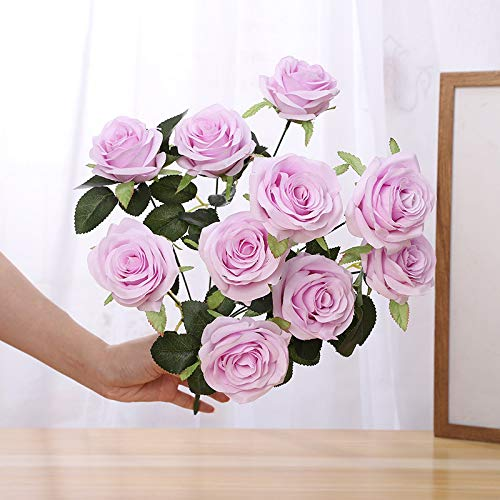 Jun7L Künstliche Blumen, Kunstblumen Seide Künstliche Rosen 10 Köpfe Brautstrauß für Hausgartenparty Hochzeitsdekoration Helles Lila 50cm