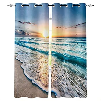 Ocean Beach Window Curtain Room Darkening Thermal Insulated Blackout Curtain Tropical Ocean Beach Wave Sea Sunset Grommet Curtains Window Treatment Drapes for Bedroom 2 Panels 27.5x39 inch