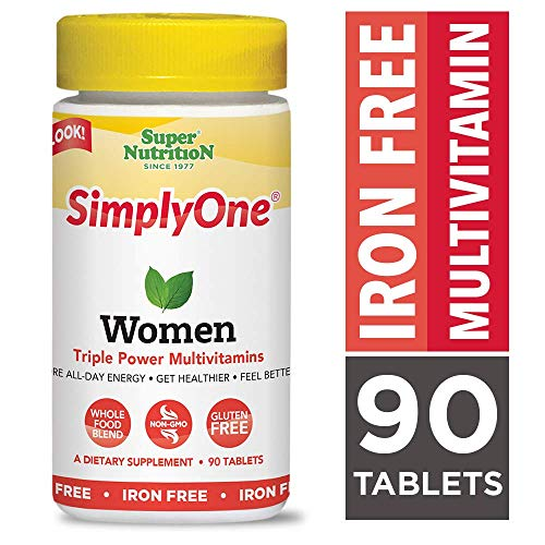 SuperNutrition, SimplyOne Multi-Vitamin for Women, Iron-Free, High-Potency, One/Day Tablets, 90 Day Supply