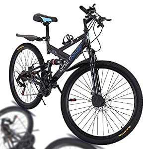 26 Inch Bike High Carbon Steel Mountain Bikes 21 Speed Bicycle Full Suspension MTB for Men/Women (Black)