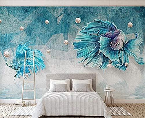 ZZXIAO Pared Pintado Papel tapiz 3D Líneas abstractas azules Guppy Jewelry baño dormitorio Sala de estar cocina Decoración Fotográfico Fotomural sala sofá pared mural-400cm×280cm