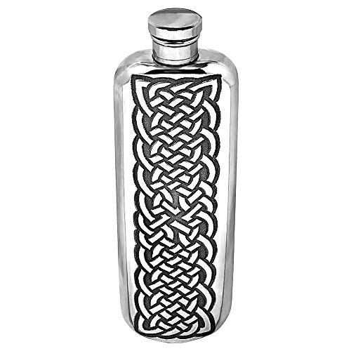 English Pewter Company 3oz Celtic Design Slimline Top Pocket Liquor Hip Flask [CEL175]