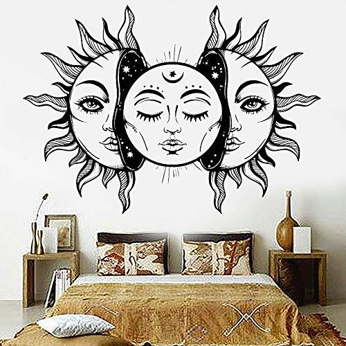 XCSJX Sun Star Moon calcomanías de Vinilo para Pared Sol Abstracto Cuento de Hadas Dormitorio Sala de Estar decoración Pegatinas de Pared extraíble Art Deco Mural 72x53cm