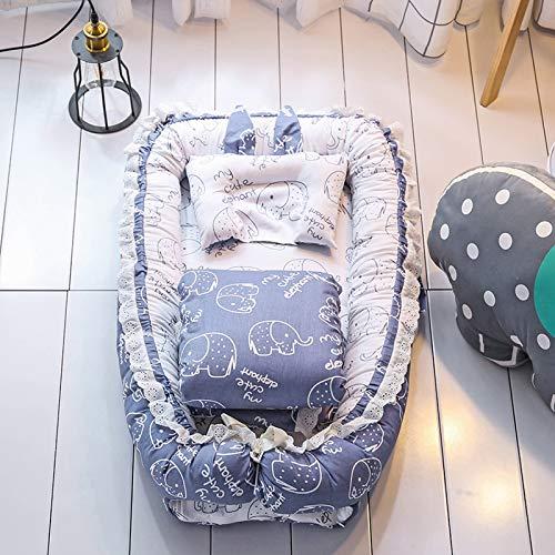 AZYJBF Juego de Cuna de 3 Piezas Incluye Nido para Bebé, Cama Nido Portátil, Cama Biónica del Bebé de Algodón, Reductor Protector de Cuna Cama de Viaje,Azul