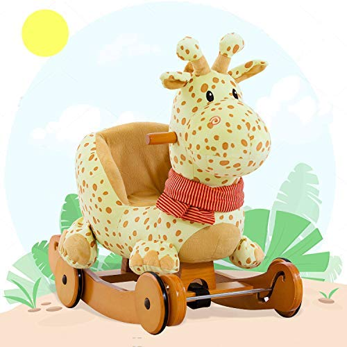 Labebe Caballo Mecedora de Madera 2-en-1 Jirafa Amarilla, niños Rocking Ride-on Juguetes de 6 Meses a 3 años de Edad bebés y bebés, Uso Dual como Cochecito, Certificado de Seguridad ASTM