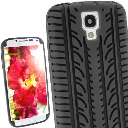 iGadgitz U2379 Nero Pneumatico Custodia Silicone Skin Case Cover Protezione Compatibile con Samsung Galaxy S4 IV I9500 Smartphone + Protettore Schermo