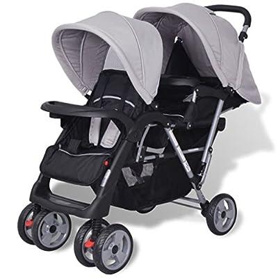 Nishore Kombikinderwagen Geschwisterwagen, klappbar Geschwisterkinderwagen Zwillingswagen Kinderwagen Buggy für 1-2 Kinder