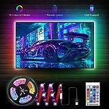 2M/6.56ft LED TV Backlight Strip, 5V Strip Lights for 40-60in TV, SMD5050 60 LEDs RGB 16 Colors Changing USB Powered TV Lighting Kit with Remote Controller