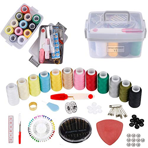 130pcs Portable Sewing Kit Set - Premium Sewing Supplies for Beginner Traveler and Emergency Clothing Fixes,DIY Crafts Accessories with Storeage Box
