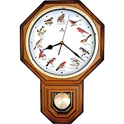 JUSTIME Unique 12 North America Bird's Song Schoolhouse Pendulum Wall Clock Chimes Every Hour Melody Made in Taiwan (TCBD-PP-OW-LW Light Wood)