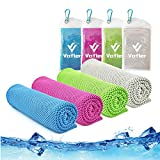 Cooling Towel,Vofler [4 Pack] Cool Towels Microfiber Chilly Ice Cold Head Band Bandana Neck Wrap (40'x 12') for Athlete Men Women Youth Kids Dogs Yoga Outdoor Golf Running Hiking Sports Camping Travel
