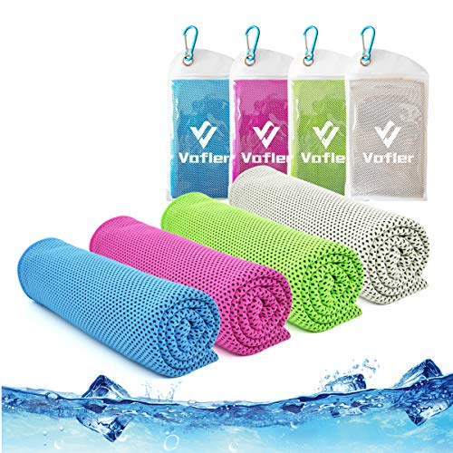 """Cooling Towel,Vofler [4 Pack] Cool Towels Microfiber Chilly Ice Cold Head Band Bandana Neck Wrap (40""""x 12"""") for Athlete Men Women Youth Kids Dogs Yoga Outdoor Golf Running Hiking Sports Camping Travel"""