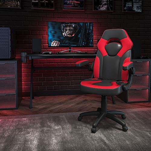 Flash Furniture X10 Gaming Chair Racing Office Ergonomic Computer PC Adjustable Swivel Chair with Flip-up Arms, Red/Black LeatherSoft