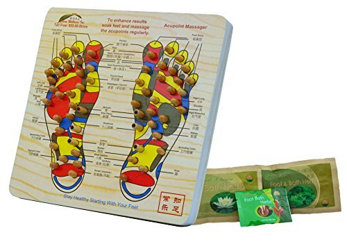 Acupoint Foot Massager Stepping Board Plus 2 Free Bags of Foot Soak Herbs