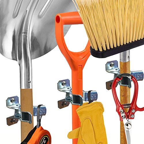Shovel Holder Wall Mount, 10 Pack, Garden Tool Organizer for Garage, Broom Mop Holder Wall Mounted, Shovel Rack Wall Mount with Mounting Screws and Wall Anchors, Bonus 2 Garden Tool Hooks
