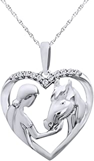 Diamond Accent Girl with Horse Pendant Necklace in 14K Gold Over Sterling Silver