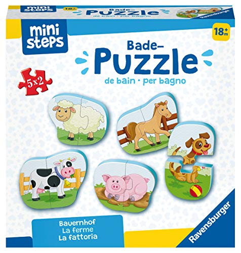 Ravensburger ministeps 4167 Bade-Puzzle Bauernhof - Badespielzeug, Spielzeug ab 18 Monate