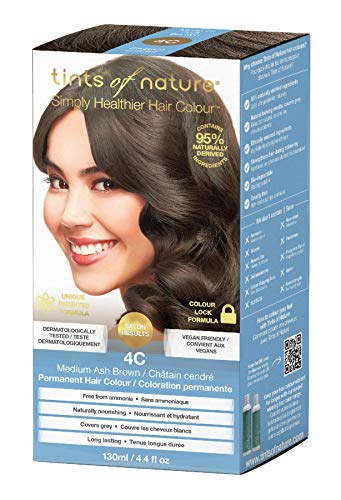 Tints of Nature 4C Medium Ash Brown Permanent Hair Dye | A Cool, Dark Brunette Home Hair Colour Kit | Vegan Friendly | 130ml / 4.4 fl oz