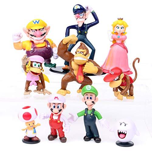 YUNDING Super Mario Peluches 10pcs/ Set Mario Bros PVC Figuras De Acción Muñeca Luigi Peach Donkey Kong Toad Anime Figuras Juguetes Niños Regalo De Cumpleaños