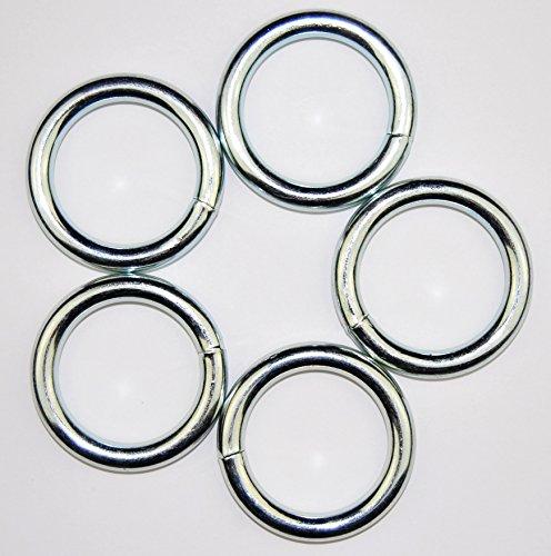 5 Stück Rund Ring Metall 62 x 7 mm, Stahl vernickelt geschweißt. O Ring Innen Ø 50 mm