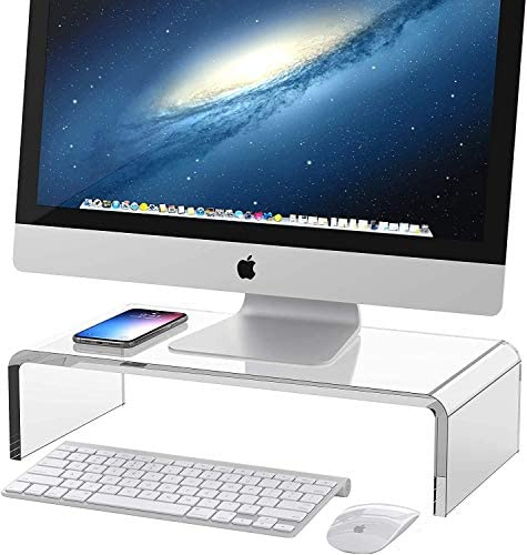 Vellenty Products Clear Acrylic Monitor Stand Monitor Riser for iMac Desktop Laptop Printer product image