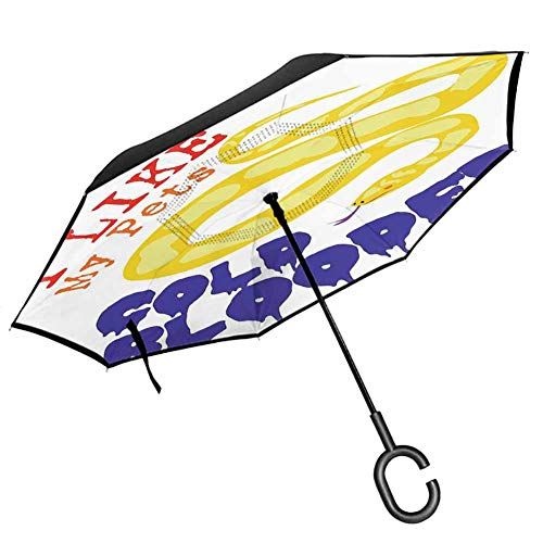 """Reptiles Inverted Umbrella Travel Compact Majestic Snake Says The Wild Truth Pet Lover Best Friend Illustration Gift Decor Auto Open and Close Travel Umbrella, 42.5""""x31.5""""Inch Purple Yellow Red"""